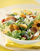 Parma ham and flower salad