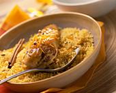 Hähnchen orientalischer Art mit Orange, Zimt und Bulgur