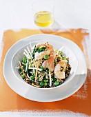 buckwheat salad with crunchy vegetables, dublin bay prawns and walnut oil