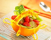 Fruit salad in orange basket