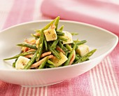 green bean salad with cheese and cooked ham