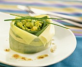 Green bean and broadbean timbale