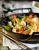 Wok of tiger prawns with tarragon
