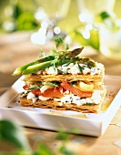 Marinated tomatoes,asparagus ,Fromage frais and cucumber Mille-Feuille