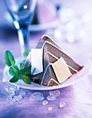 Two chocolate ice cream pyramid dessert