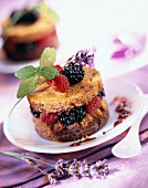 gingerbread, summer fruit duo and stewed lavender delight