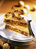 Caramelized hazelnut and walnut tart