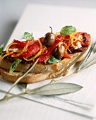 Tapenade and peppers on toast
