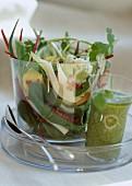 Vegetable salad and leek soup