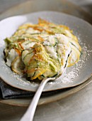 Courgette flowers au gratin with parmesan