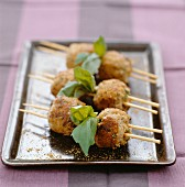 Herbed poultry ball skewers