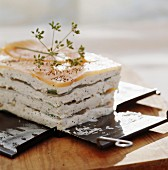 smoked trout and spinach mille-feuille