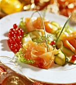 Smoked salmon with courgettes