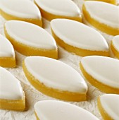 Diamond-shaped almond paste and icing Calisson sweets