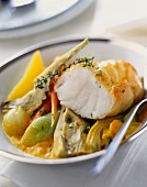 Monkfish with vegetables