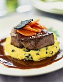 Thick ostrich steak with mashed potatoes with truffles