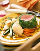 Noisette fillet with herbs and vegetables
