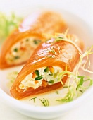 Smoked salmon rolls filled with Fromage frais and young vegetables
