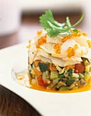 Fish and vegetable timbale