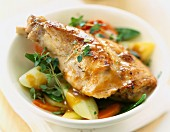 Leg of rabbit with vegetables