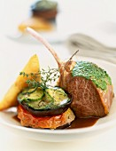 Lamb chop with herbs and vegetable Tian