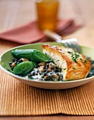 Roast cod with lentils