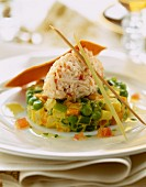 Crab meat Quenelle on mixed vegetable timbale