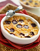Grape and almond clafoutis batter pudding