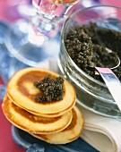 Caviar on blinis