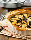 Blood sausage and apple tart