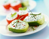 cucumber and tomato stuffed with fromage frais