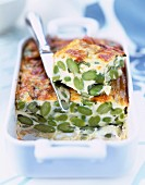 broad bean clafoutis batter pudding