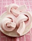 Marshmallow twists on plate
