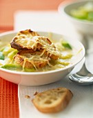 oven browned onion and leek soup