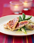 Red mullet with asparagus and artichokes