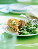 Free-range chicken with tarragon and broad beans
