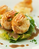 Dublin Bay prawns with chocolate and leek fondue