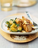 Porc Noisette fillets with courgettes and almonds