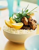Bite-sized chicken Tikka with Basmati rice