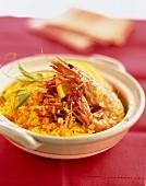 Shrimps flambé with orange and ginger