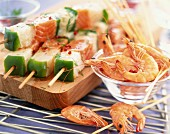 Fish and prawn skewers