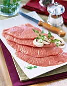 Raw veal escalope