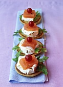 Blinis with salmon and creme fraiche