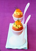 Scrambled eggs with dill and trout roe