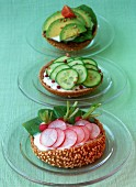 Raw vegetables on toasted buns