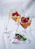 Summer fruit cocktail with sauterne jelly
