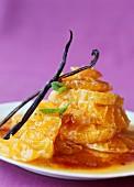 Orange and mandarin fruit salad with vanilla