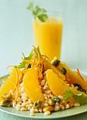Weizengriess mit Orangen und Pistazien