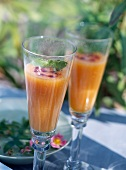 Melon juice with vodka and blackcurrant liqueur