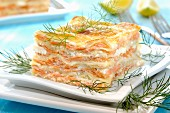 A slice of salmon lasagne